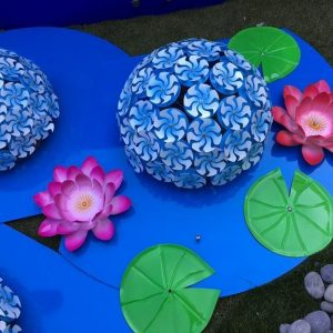 water lilies and lily pad metal art